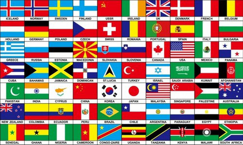 70 Countries Of The World Flag
