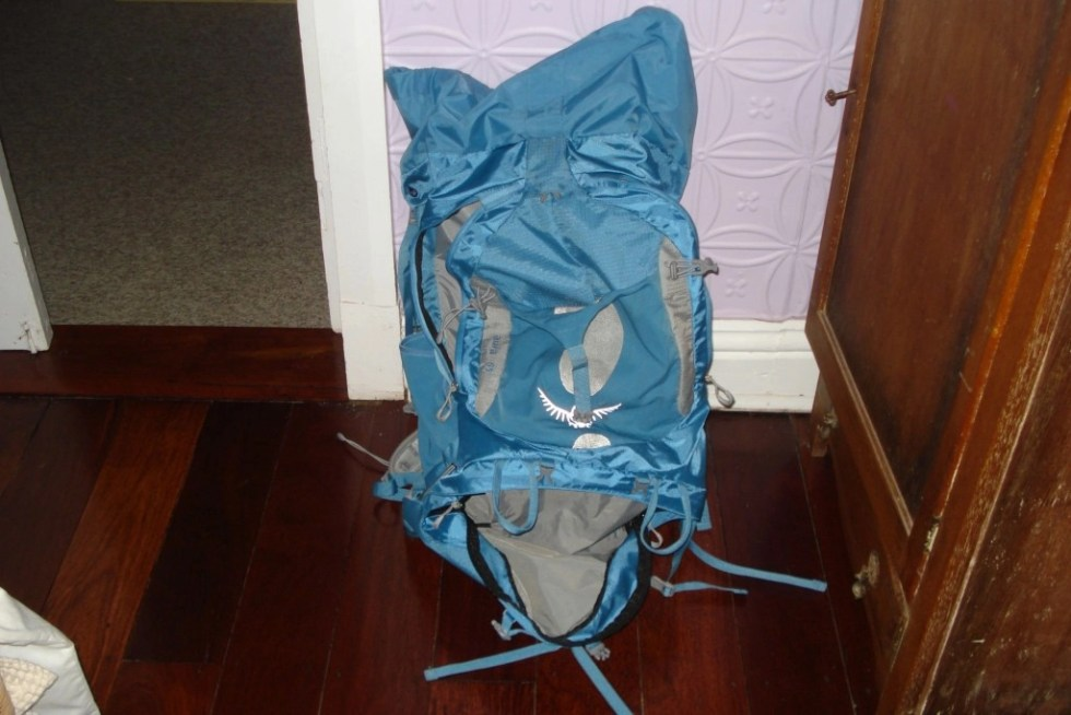 65-liter turqouise Osprey backpack