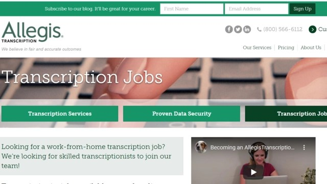 Top of home page of Allegis website where you can find transcription jobs online