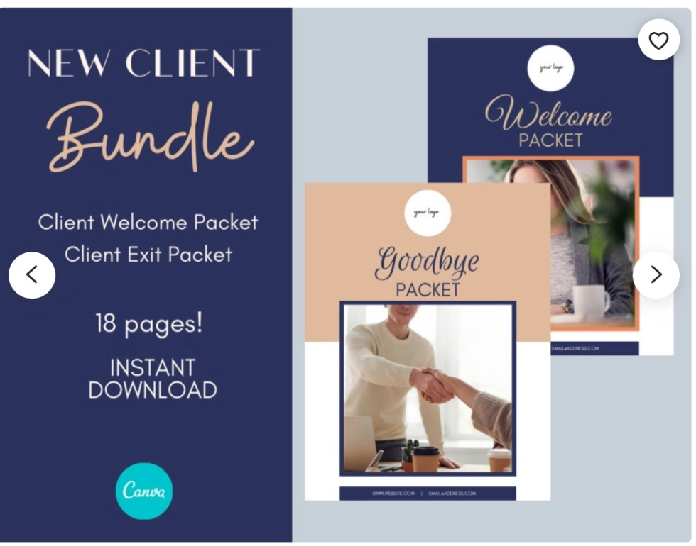 3 pages of an Etsy products new client bundle showing the cover of the welcome packet and the good-bye packet