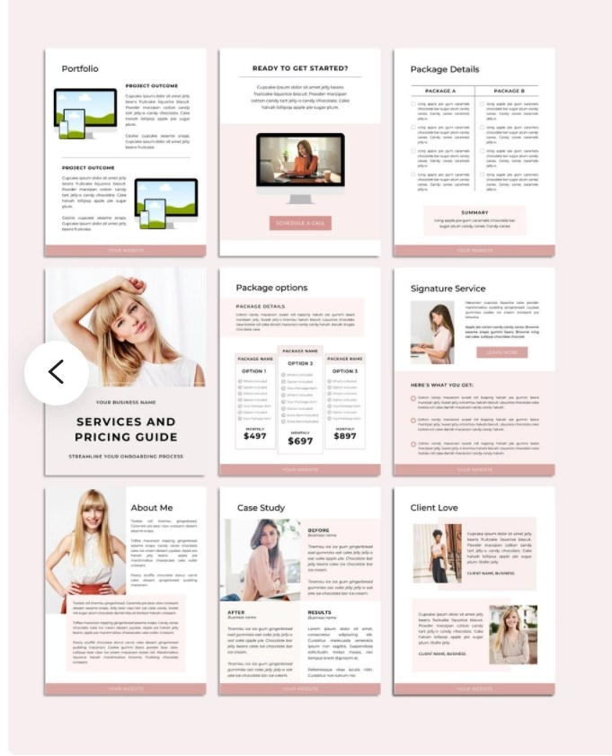 9 pages of one of the great Etsy products - a freelance services template in light pink
