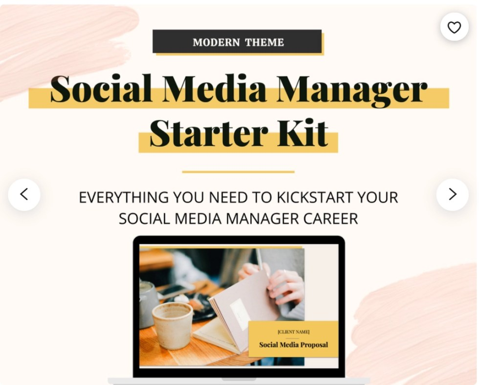 Etsy products social media manager starter kit text with everything you need to kickstart your social media manager career beneath