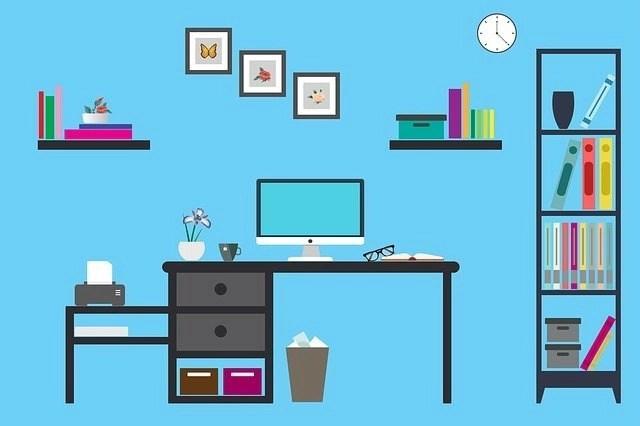 Illustration of work-at-home office space with blue background where you can work at a freelance job requiring no degree or experience