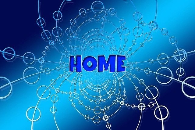 Blue Graphic With The Word Home In The Middle Of It