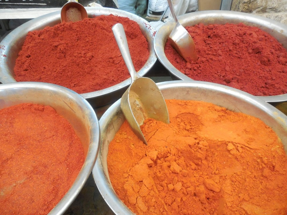Colorful spices, which you can find on a trip to Israel