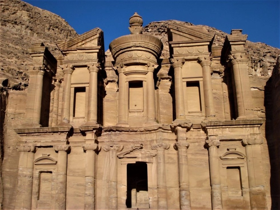 Outside view of the Petra Monastery after climbing the 800 steps to get to it