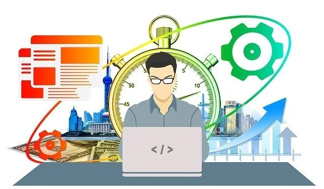 Illustration of man with glasses in front of laptop on table with colorful electronics behind him working in a job requiring no degree or experience