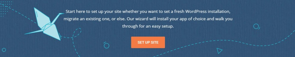 SiteGround blue banner for setting up your website