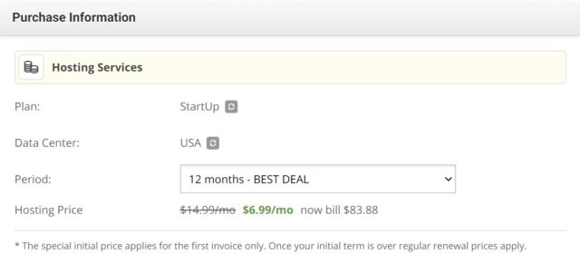 SiteGround special price for the StartUp plan
