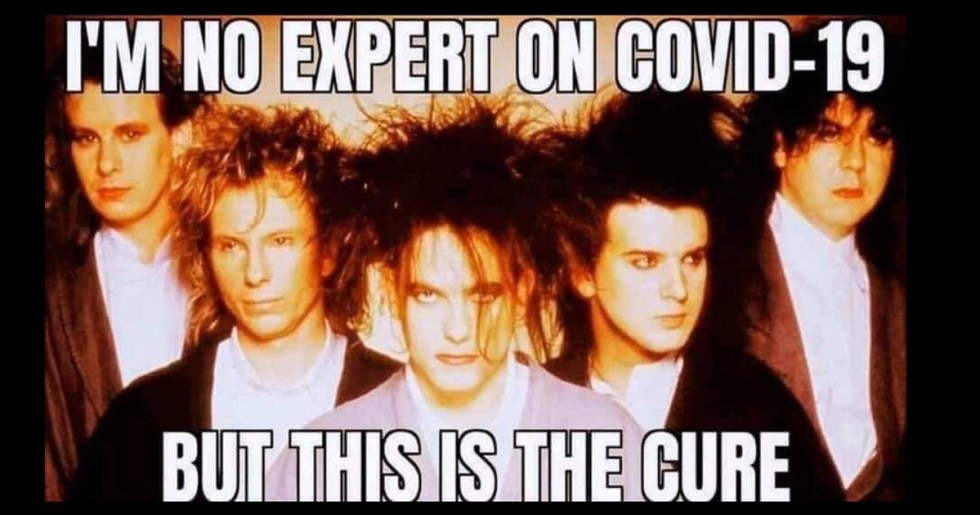 Coronavirus meme of a professional photo of the Cure band