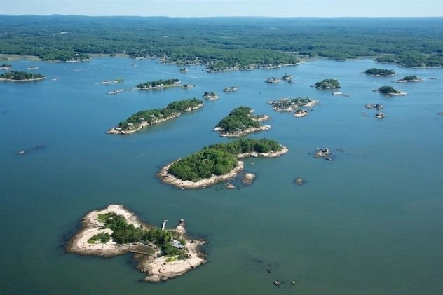 Aerial view of the Thimble Islands on the Long Island Sound in Connecticut, USA