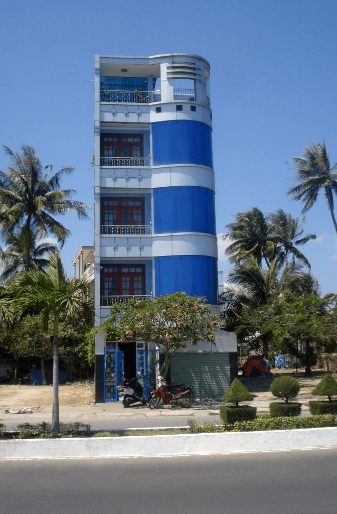 Tall, thin blue building in Nha Trang, Vietnam