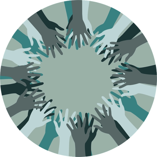 Circle with illustration of dozens of overlapping hands in shades of green, grey and black