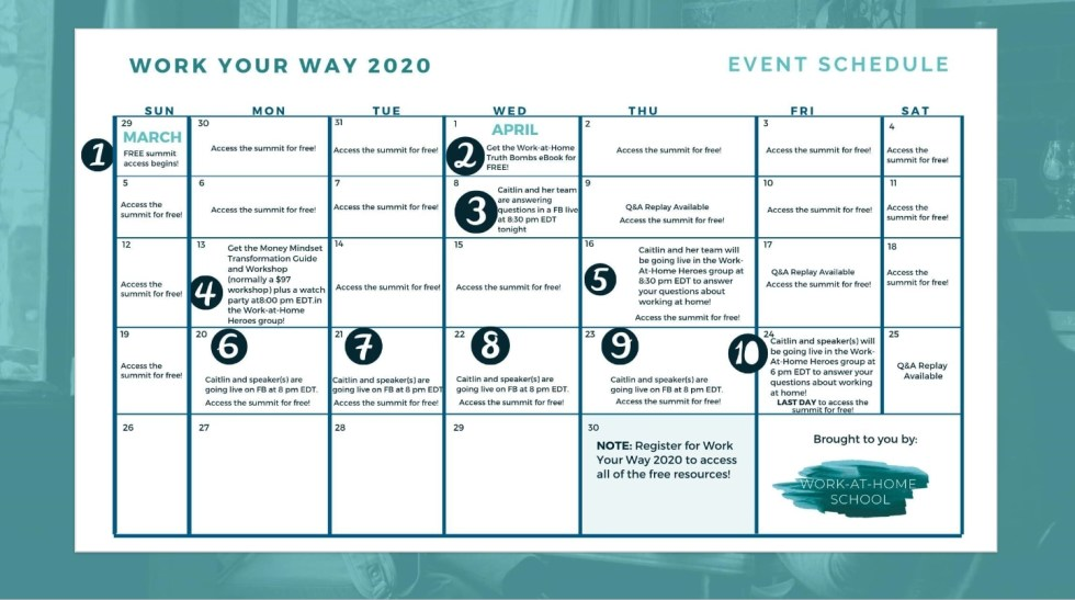 Work Your Way 2020 free online work-at-home conference event schedule