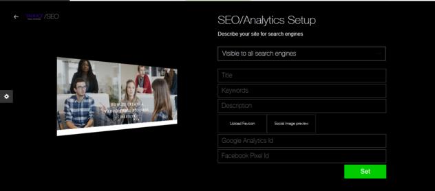 Yahoo Small Business SEO Analytics setup page