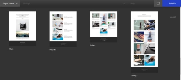 Yahoo Small Business Websites page templates