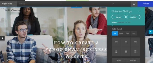 Gear icon and its settings on Yahoo Small Business Websites builder