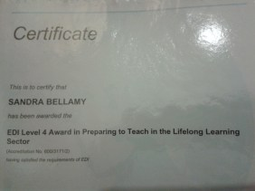 Sandra Bellamy holds a PTTLS Level 4 Teacher/Trainer qualification