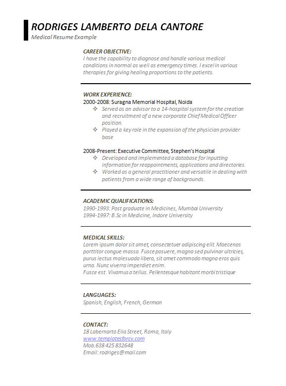 medical resume template