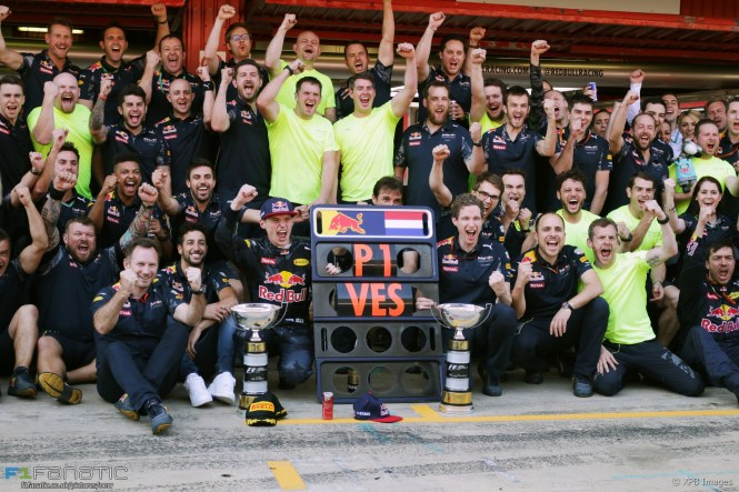 Race winner Max Verstappen (NLD) Red Bull Racing celebrates with the team. 15.05.2016. Formula 1 World Championship, Rd 5, Spanish Grand Prix, Barcelona, Spain, Race Day. - www.xpbimages.com, EMail: requests@xpbimages.com - copy of publication required for printed pictures. Every used picture is fee-liable. © Copyright: Bearne / XPB Images