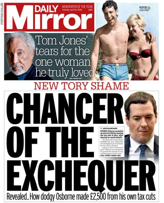 the mirror report on george osborne being a hypocritical bastard again