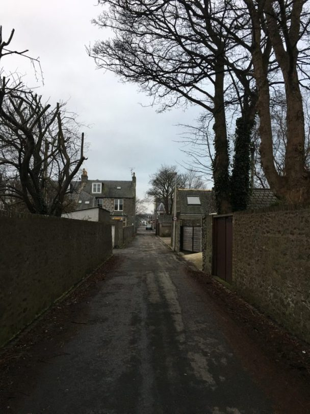 back streets of aberdeen (scotlands) west ent - the back lane that goes on forever