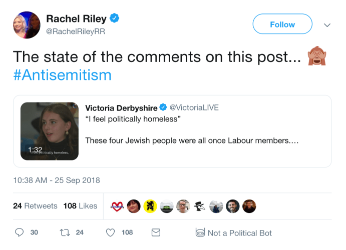 Racheal Riley 'the state of the comments': first use of '#antisemitisim'
