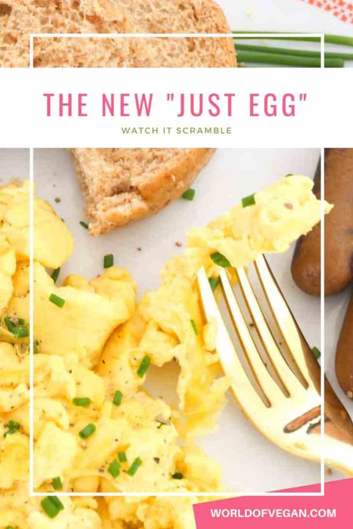 Vegan Scrambled Eggs Are Here!   Meet The New Just Egg   WorldofVegan.com   #vegan #eggs #scramble #breakfast #recipe