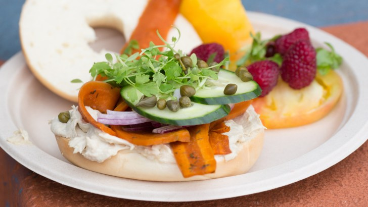 New York Style Bagels With Vegan Carrot Lox & Cashew Cream Cheese