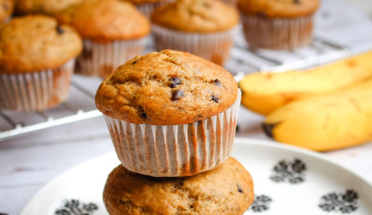 Vegan Fall Desserts: Chocolate Chip Banana Muffins   WorldofVegan.com #vegan #fall #dessert #recipe
