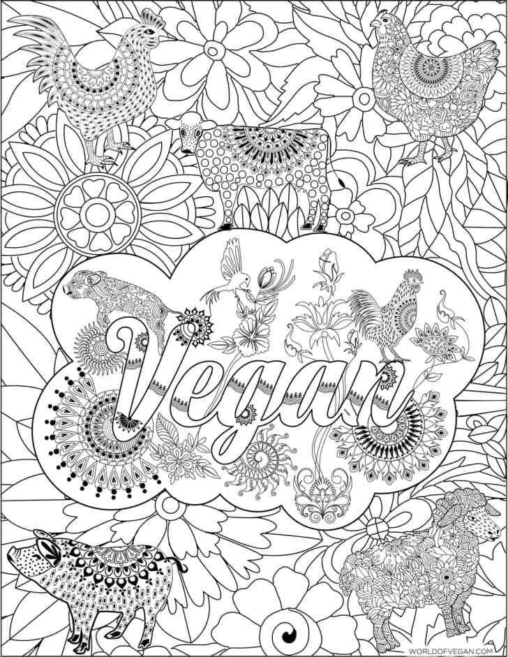 Vegan Zentangle   Printer-Friendly Adult Coloring Book   WorldofVegan.com #vegan #art #zentangle #mandala