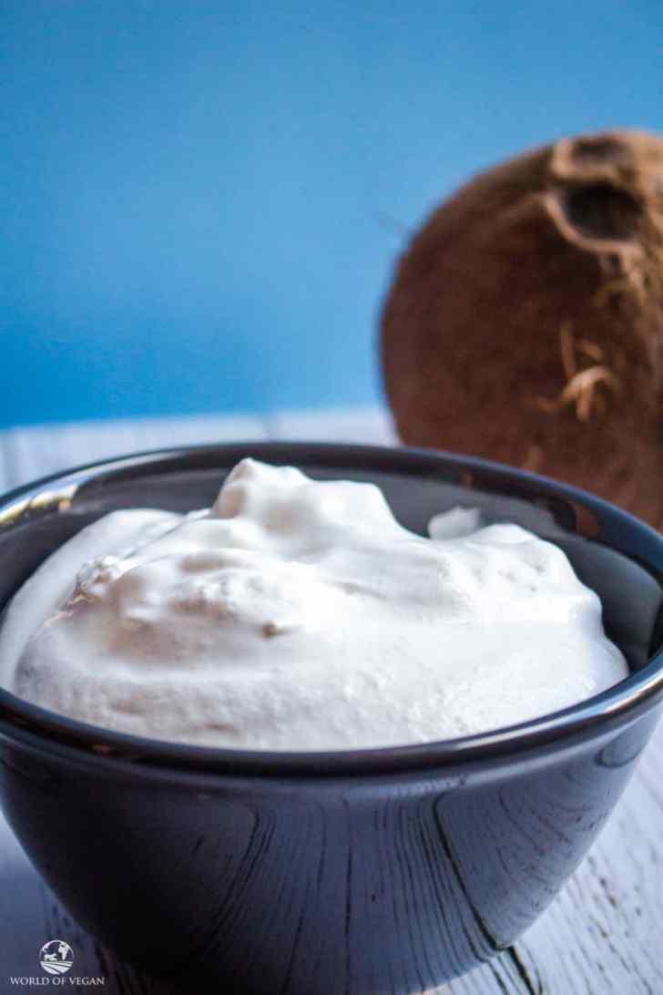 Coconut Whipped Cream | Easy Vegan Recipe | WorldofVegan.com | #holiday #recipe #dessert #coconut #vegan