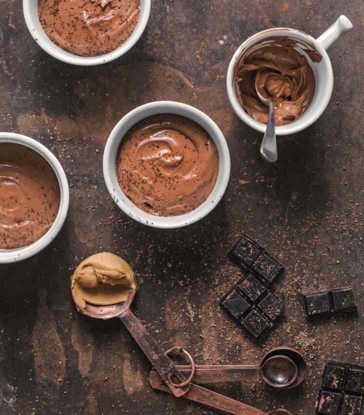 Silken Chocolate Peanut Butter Pots   Simple Vegan Dessert carnivore-friendly   WorldofVegan.com   #vegandessert #chocolate #peanutbutter #tofu