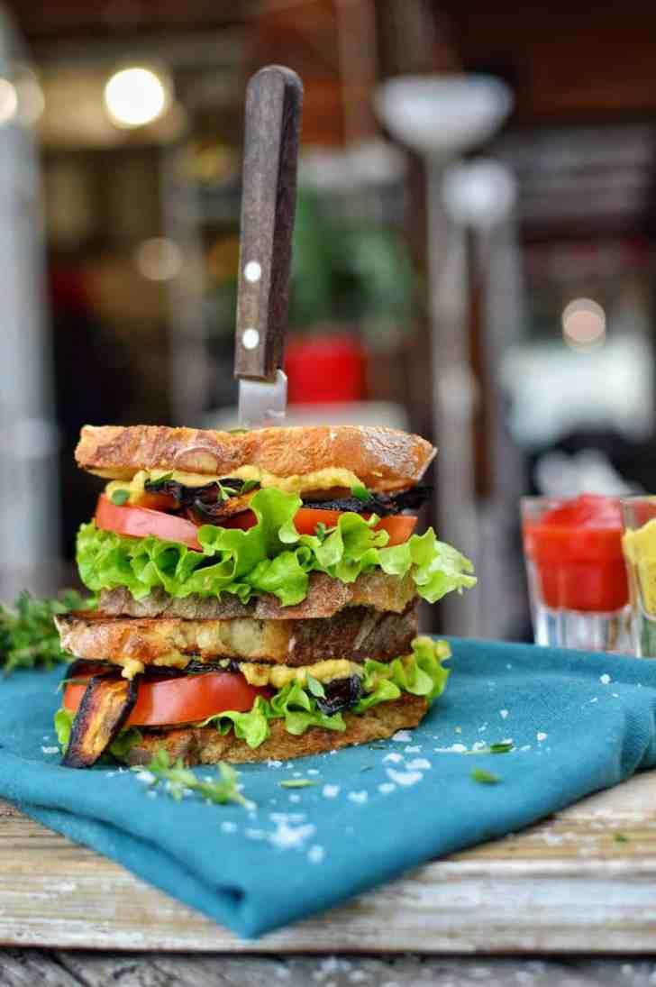 Vegan BLT Sandwich   Make Your Own Vegan Bacon   WorldofVegan.com   #vegan #eggplant #bacon #BLT #sandwich #plantbased #worldofvegan