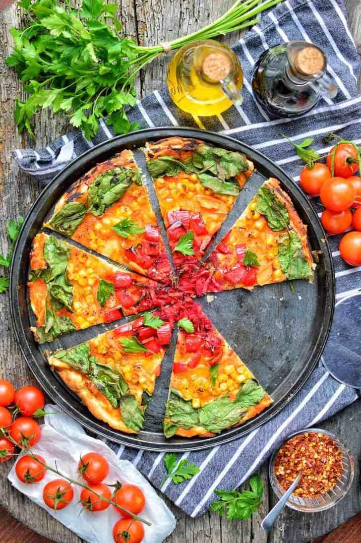 Rainbow Pizza | Easy & Quick Vegan Pizza Recipe | WorldofVegan.com | #veganpizza #healthy #colorful #dairyfree #quick #easy #italian