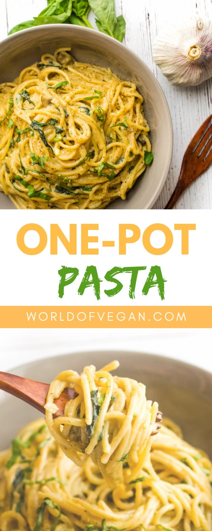 One Pot Pasta | WorldofVegan.com | #Vegan #vegetarian #dinner #pasta #recipe #plantbased #dairyfree