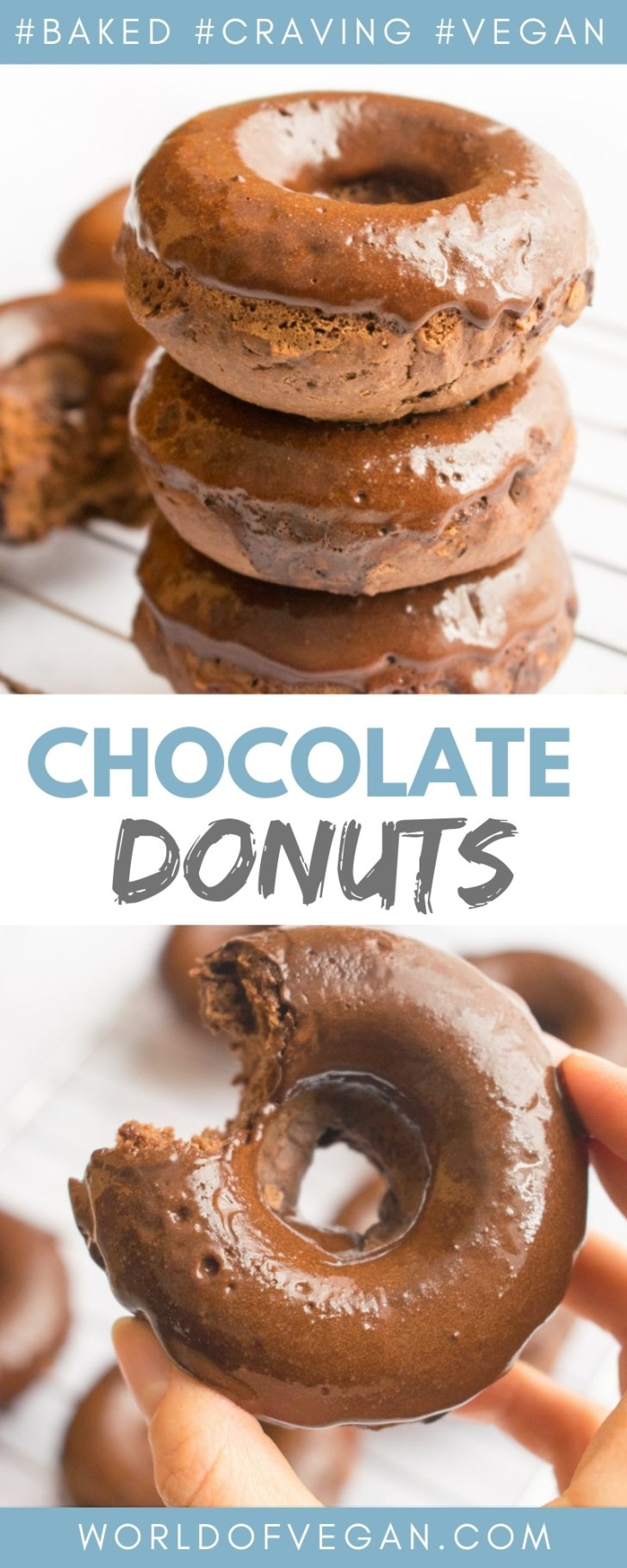 Double Chocolate Donuts—Made Vegan!   World of Vegan   #donuts #vegan #chocolate #dessert #party #worldofvegan