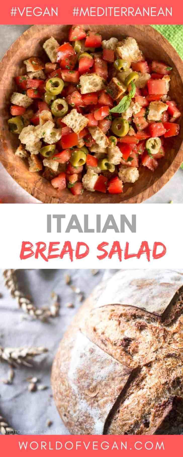 Simple Italian Bread Salad | World of Vegan | #bread #salad #italian #side #tomatoes #olives #worldofvegan