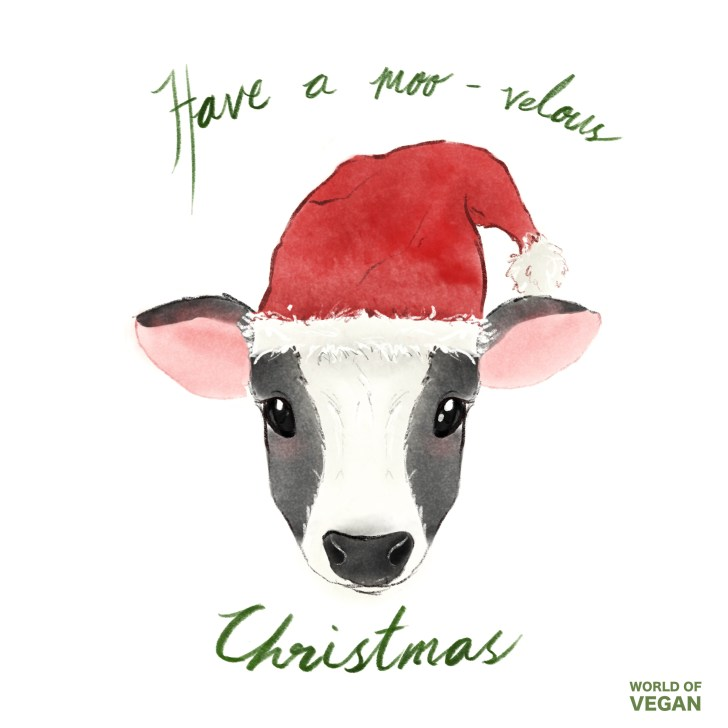Vegan Christmas Art | Moovelous Cow Illustration | WorldofVegan.com