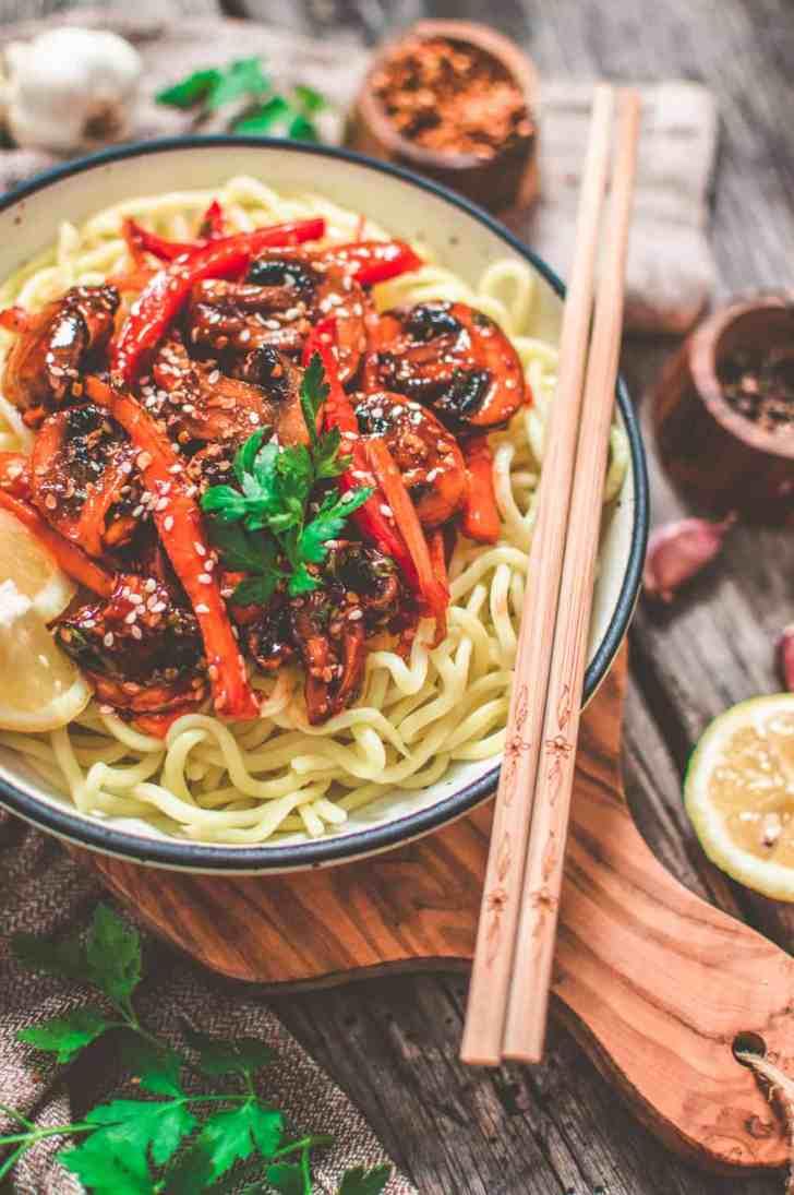 Vegan Teriyaki Stir Fry Close up with Chopsticks on the side