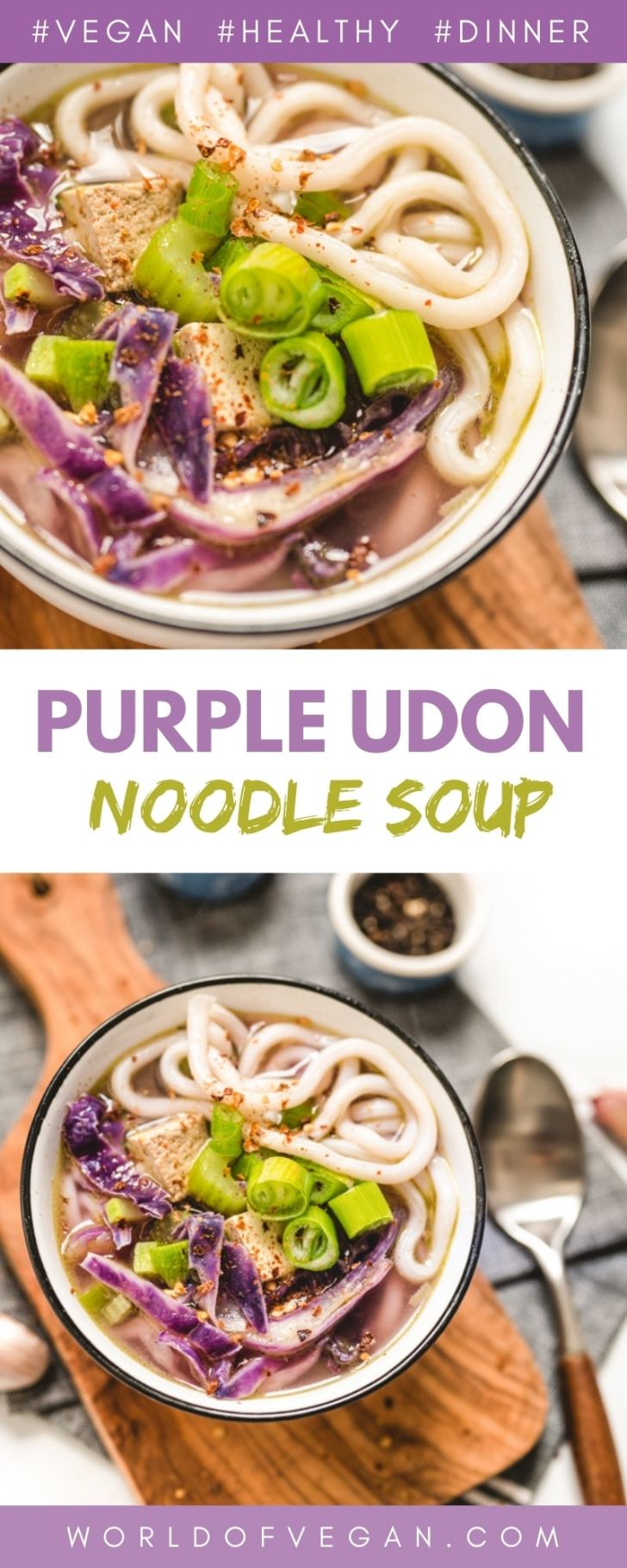 Vegan Udon Noodle Soup Recipe With Purple Cabbage And Green Onions