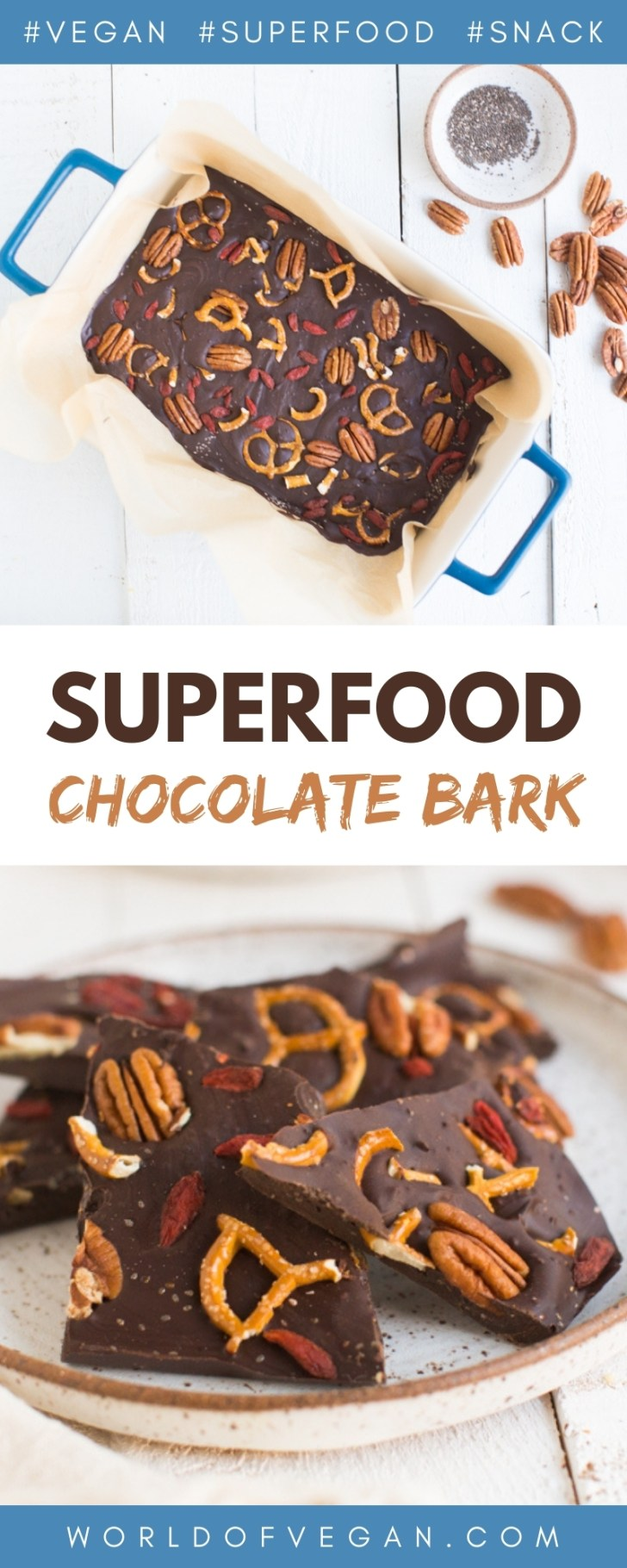 Superfood Bark with Goji Berries Broken into Pieces