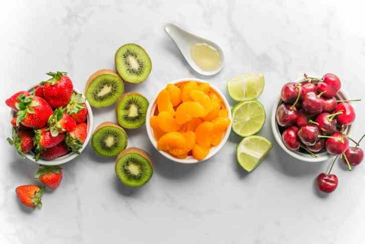 Easy Sweet Tart Fruit Salad With Strawberries Kiwi Cherries and Mandarins