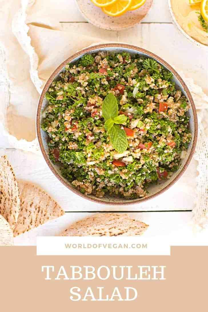 Vegan Mediterranean Recipes Tabbouleh Salad Pinterest Share Graphic
