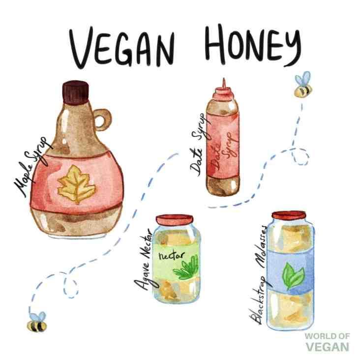 World of Vegan Honey Art Agave Maple Molasses Date Syrup Illustration