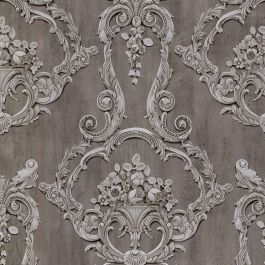 Grosvenor 3D Effect Floral Damask Wallpaper Anthracite ...