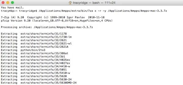 Mac Terminal - Ampps Update Complete