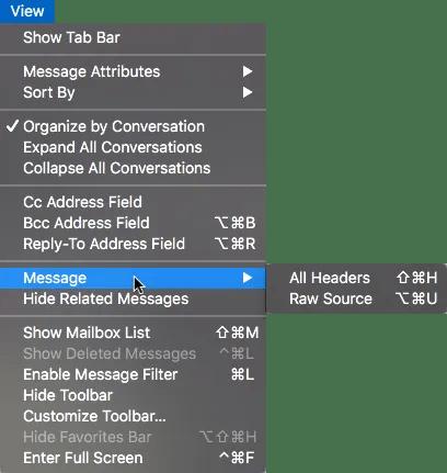 Apple Mail View Menu