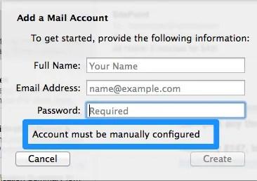 Account Manual Configuration