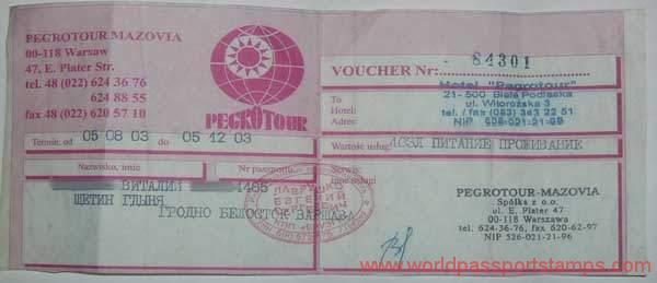 documents for visa to Belarus